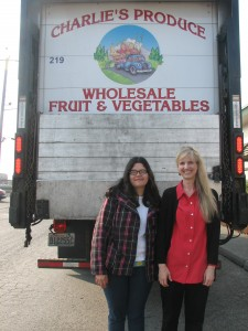 Mary and Michaelle at Charlie's Produce